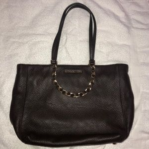 Michael Kors brown leather tote bag